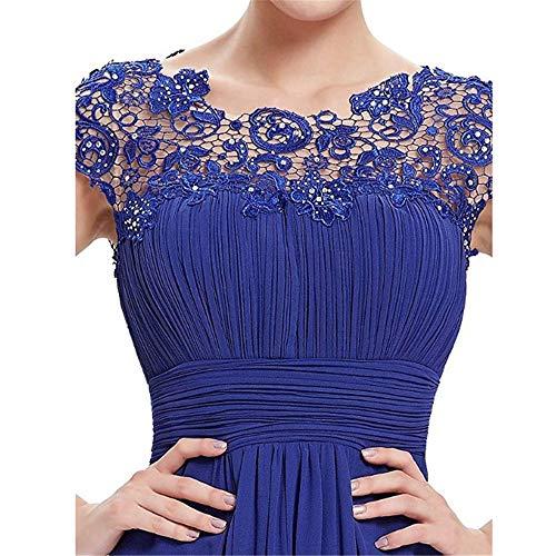 Honor Las Espalda Vendimia Manga Mujeres Dama Cordón Azul Acanalada Formal Noche Casquillo Gasa Del Baile De Busto Fiesta Maxi Abierta Largos La Vestido Vestidos Escote rnrR8