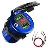 Quick Charge 3.0 Car Charger, CHGeek 12V/24V 36W Waterproof Dual QC3.0 USB Fast Charger Socket Power Outlet with LED Digital Voltmeter for Marine, Boat, Motorcycle, Truck, Golf Cart and More (Blue)