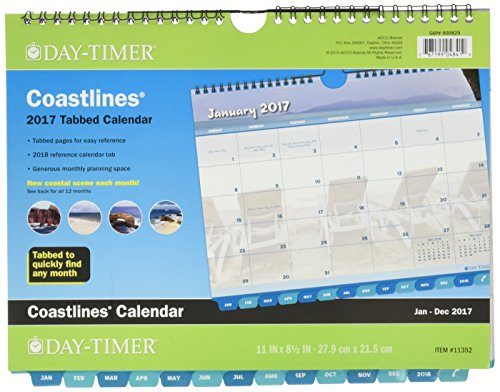 "Day-Timer Wall Calendar 2017, Monthly, Tabbed, 11 x 8-1/2"", Wirebound, Coastlines (11352)"