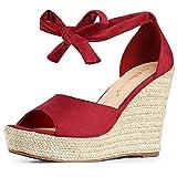 Allegra K Women's Espadrilles Tie Up Ankle Strap Wedges Red Sandals - 8.5 M US