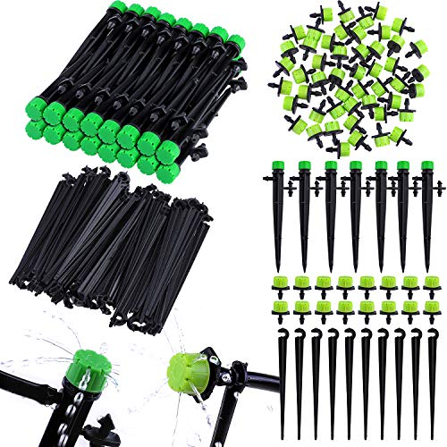 Elcoho 150 Pieces Drip Irrigation System Sets, Adjustable Water Flow Drip Emitters Micro Drip Irrigation Sprinklers Drippers Support Stakes for Watering System, for 1/4 Inch Hose