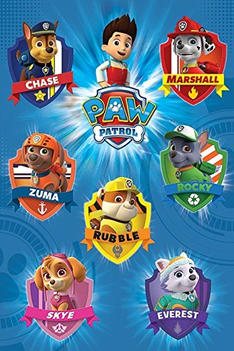picture relating to Paw Patrol Printable Pictures named Paw Patrol - Television set Present Poster/Print (Identity Crests/Badges) (Sizing: 24 inches x 36 inches)