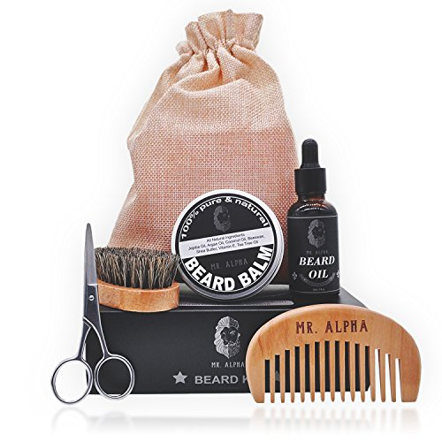 Palm Kit Essentials (MR ALPHA Beard Grooming Gift Set for Men - Essential Facial Hair Kit Mustache Comb, Beard Brush, Styling Wax Balm, Professional Trimming Scissors, Hydrating Beard Conditioner Oil, Organic Ingredients)