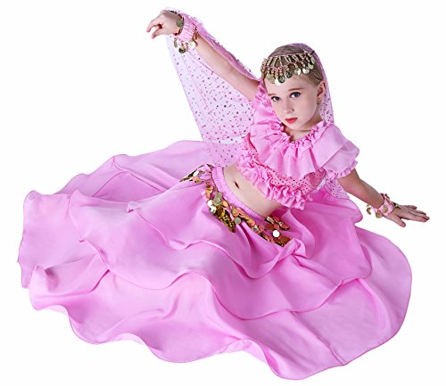 Gypsy Jingle Costume Renaissance Halloween Kids Girls 4T 6 7 8 10 12 14 16 L XL Pink -
