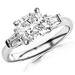 0.85 Ctw 14K White Gold GIA Certified Cushion Cut Prong Set Round And Baguette Diamond Engagement Ring , 0.5 Ct I J VS1 VS2 Center