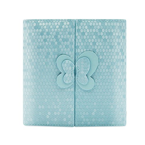 Butterfly Leather Jewelry Box Display Storage Case Organizer for Earrings Rings Necklace Bracelet Watch (Blue)