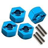 SkyQ RC Car 12mm Wheel Hex Hub Drive Adapter and Pins Fits the 1/10 Traxxas Slash 4X4 RC Model Cars Blue Pack of 4