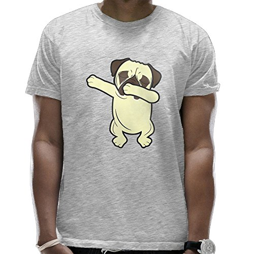 BRIGHT JUNAY Dabbing Pugs Men Humor T-Shirt Short-Sleeve Round Neck Tees Tops Ash