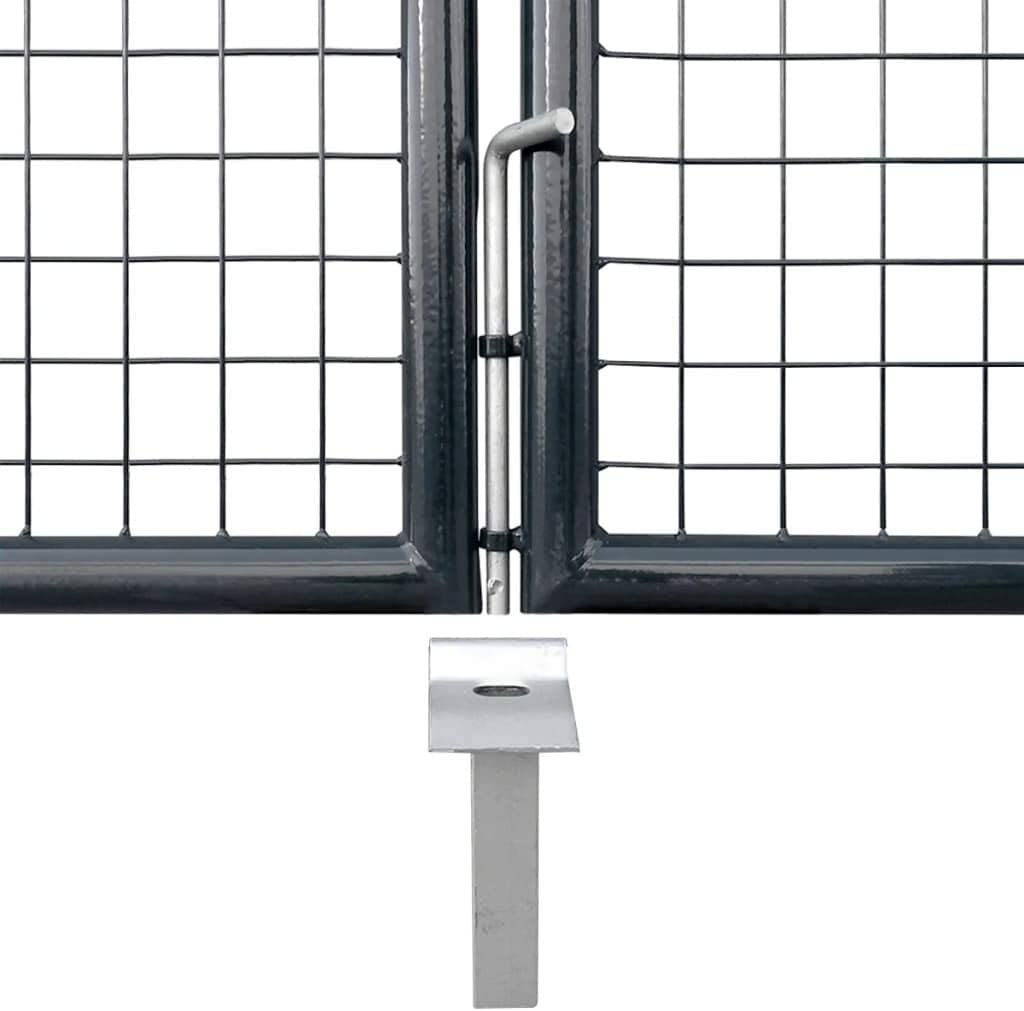 vidaXL Gartentor Verzinkter Stahl 400x75cm Doppeltor Gartent/ür Zauntor Hoftor
