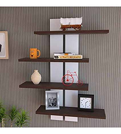 Delviraa Wooden Floating Wall Shelf For Home U0026 Office Decor Set Of 4  Colorful Storage Unit