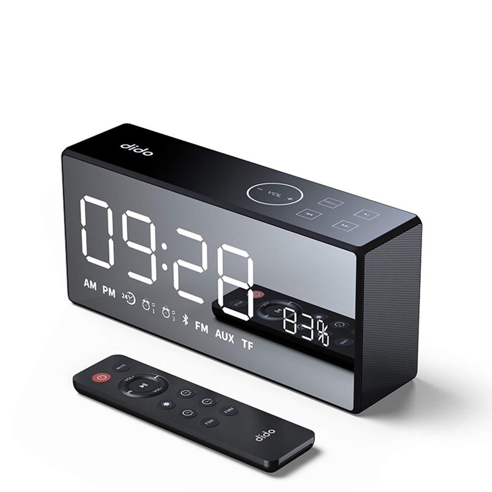 目覚まし時計ラジオ、ベースHi-FiワイヤレスBluetoothスピーカーAUX TFカード再生スマートタッチとリモートコントロール25時間再生時間,Black B07LG8QC6R Black