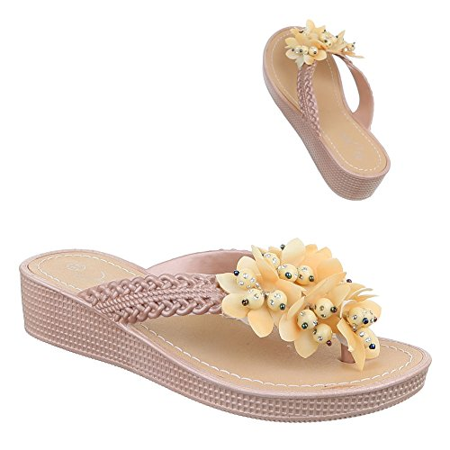 Damen Schuhe, Ju-5, Sandalen Bequeme Zehentrenner Beige