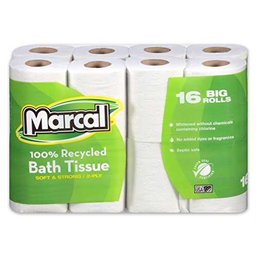 Marcal 1646616PK 100% Recycled Two-Ply Bath Tissue, White, (Pack of 16 rolls) (Tissue Premium Marcal Bath)