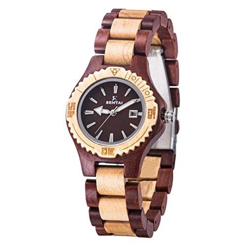 Sentai Wood Watch, Womens Handmade Wrist Watch with Adjustable Band, Date Calendar, Luminous Pointer (Pointer Woman Wrist Watch)