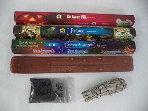 Protection Set of 60 Incense Sticks Plus Holder, White Sage Smudge and Black Salt (Banishing Incense Sticks)