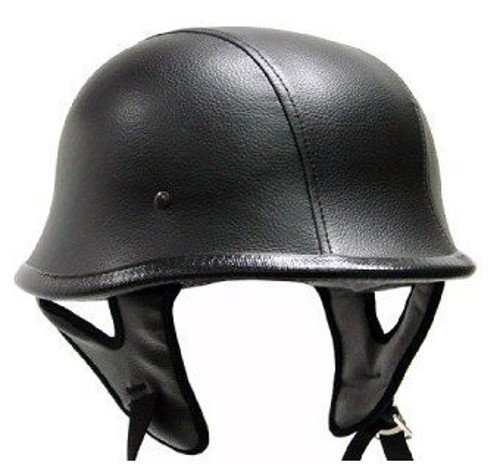 Black Leather German Motorcycle Helmet DOT (Large) ()