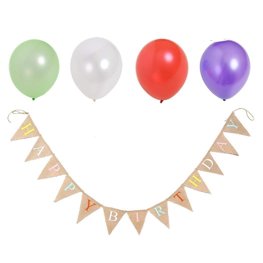 Faylapa Happy Birthday Party Hessian Bunting Burlap Banner Approx 100pcs Party Balloons Assorted Colors