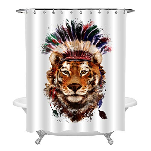 Tiger in a Indian Headdress of Feathers Shower Curtain Liner, Watercolor Illustration Lion Head Home Ornaments for Kids Boy Gifts, Waterproof Polyester, Gold, 72 x 78 inches for Bathroom Shower Tub