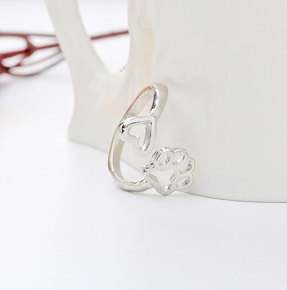 Doitsa Bague de Couple Reglable Forme de Coeur et Empreintes de Chien Mode et El/égant Bague Art Parfait Cadeau Id/éal Pour Amis size 1.8*2*2cm
