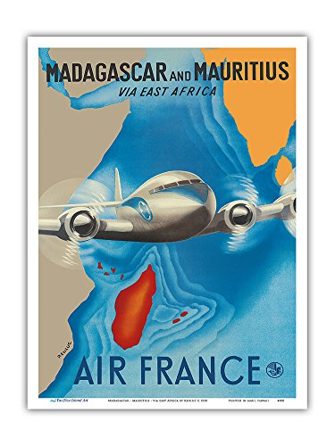 Pacifica Island Art Madagascar - Mauritius - via East Africa - France - Vintage Airline Travel Poster by Renluc c.1950 - Master Art Print - 9in x 12in