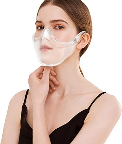 Mouth Reusable 2 Pack Durable Protect Eyes Transparent Anti-Fog Face Shields Protection Covering Nose Anti Fog and Breathable Visible Expression Fotiluck Clear Face/_Shields for Adult
