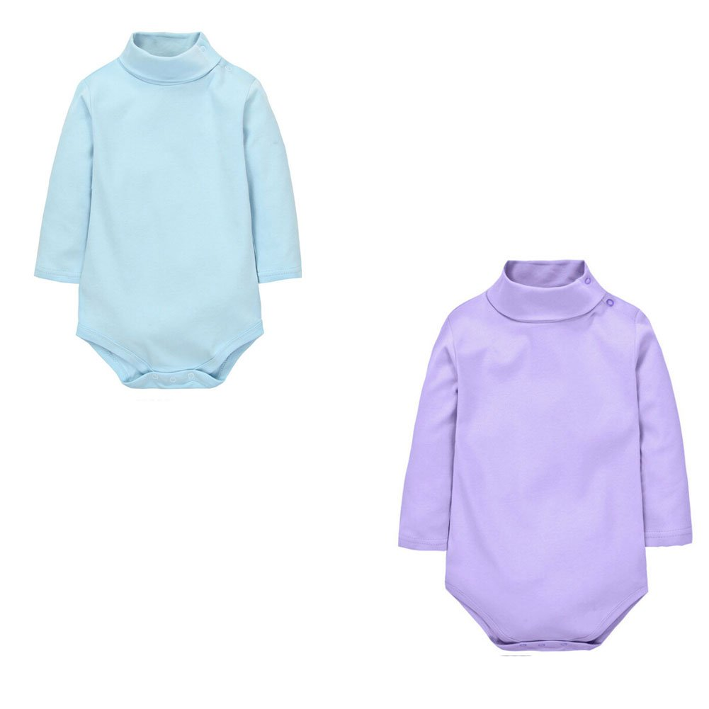 Infant Bodysuit Jumpsuit RoyalBlue Polo Neck Long Sleeve Beige 12 Months 100/% Cotton CuteOn 2 Packs Unisex Baby Romper