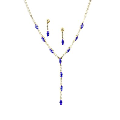 d813bd53fff69 Mytoptrendz Gold Plated Y-shaped Necklace Set With Sapphire Blue and ...