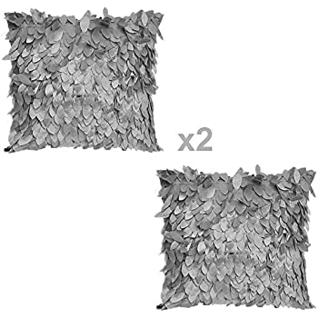 WOMHOPE 2 Pack - 3D Solid Satin Flower Leaves Square Throw Covers Pillowcase Bed Sofa Couch Cushion Pillowcase Arts Decorative Cover Wedding Throw Pillow Covers (Grey)