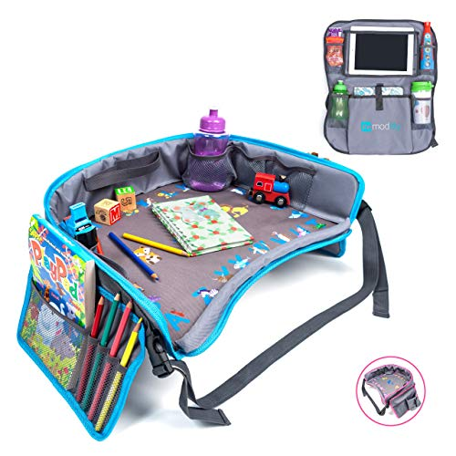 Moditty | Kids Travel Tray Bundle with Back Seat Car Organizer | Activity Play Table for Toddlers in Car Seats, Airplanes, Strollers (Blue)