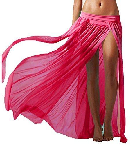 Lannorn Women's 5 Colors Sexy Sarong Side Slit Gauze Mesh Beach Long Skirt Swimsuit Bikini Cover Ups Swimwear.