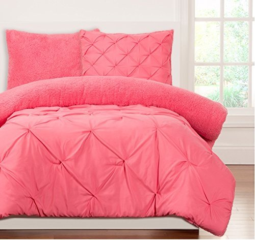 3pc Kids Teens Full Queen Candy Pink Pinched Pleat Comforter Set, Pintucked Design, French Country, Dark Pink Hot Pink, Modern Pattern Master Bedrooms, Fancy Luxury Bedding by D-UNKN
