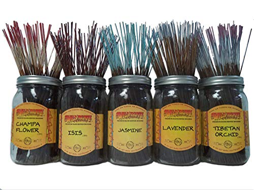 - Wildberry Incense Sticks Florals & Greens Scents Set #1: 20 Sticks Each of 5 Scents, Total 100 Sticks!