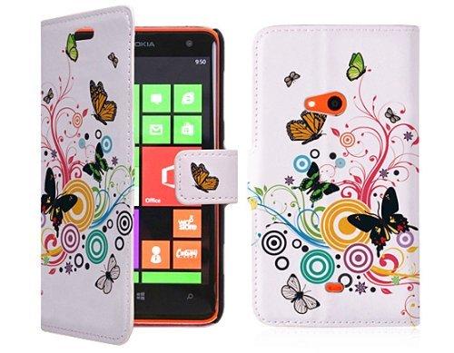 34 opinioni per Juju Village Rainbow Butterfly Swirl Pelle PU Wallet Case per Nokia Lumia 625