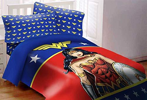 JPI DC Comics Justice League Wonder Woman Twin Size Bed Comforter 3 Piece Set with Pillow Shams (Wonder Woman Bedding Full)