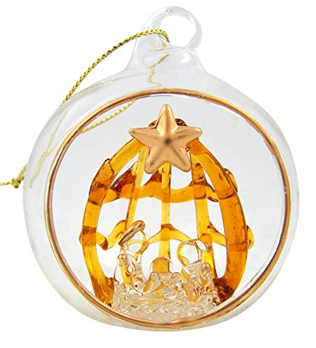 Spun Glass Holy Family with Star Nativity Christmas Ornament, 2 1/2 Inch