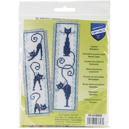 Vervaco Cheerful Cats Bookmarks on Aida Counted Cross Stitch