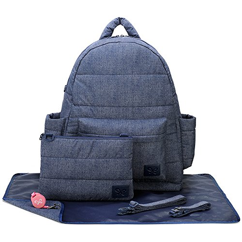 CiPU Baby Diaper Bag - Backpack Diaper Bag - Travel Bag - Changing Pad & Adjustable Buckle - Weightless on Your Shoulder & Waterproof - XL Jumbo Navy Blue Lining