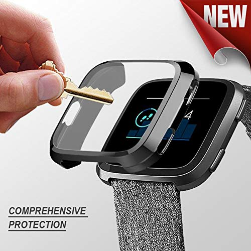 Fitbit Versa case,Ankertoy Versa Screen Protector TPU All-Around Full Front Protective Case 0.3mm HD Clear Cover for Fitbit Versa Smart Fitness Watch (Black)