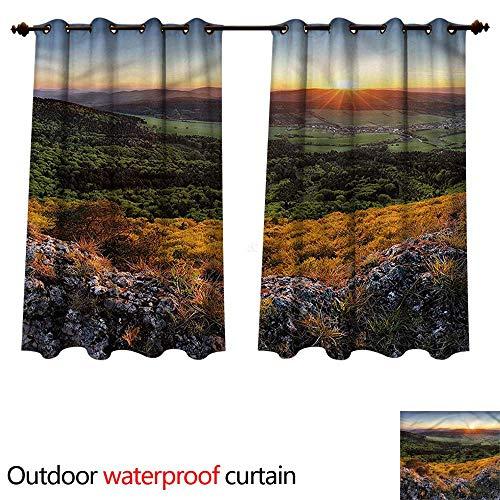 (cobeDecor Nature 0utdoor Curtains for Patio Waterproof Balkans Slovakian Mountain W55 x L45(140cm x 115cm))