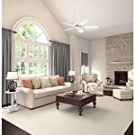 Hunter Indoor Ceiling Fan, with pull chain control - Builder Elite 52 inch, White, 53240 17 WhisperWind motor delivers ultra-powerful air movement with whisper-quiet performance so you get the cooling power you want without the noise you don't Reversible motor allows you to change the direction of your fan from downdraft mode during the summer to updraft mode during the winter 5 Snow White Composite blades included
