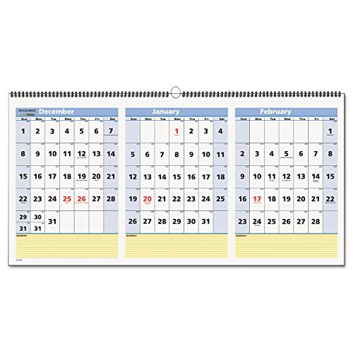 AT-A-GLANCE Wall Calendar 2017, QuickNotes, 3 Month View, 15 Months, 23-1/2 x 12'', Horizontal (PM15-28) by At-A-Glance
