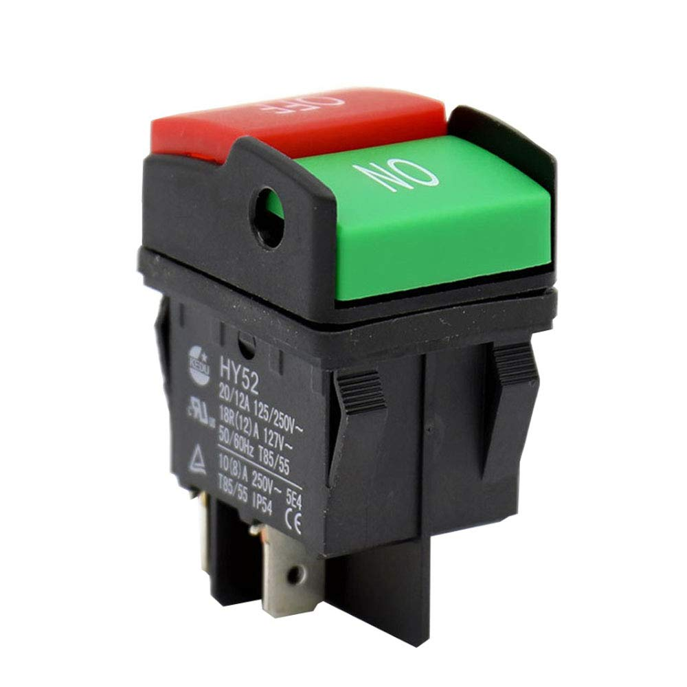 2Pcs HY52 4Pins Push Button Switch KEDU AC 125/250V 20/12/10/8A ON-OFF Electric Tool Pushbutton Switches Suitable for Electrical Appliances and Equipment for Household or Similar Purposes CE UL TUV