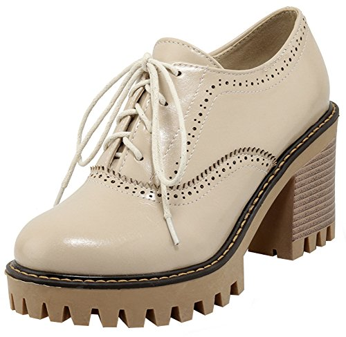 (Mofri Women's Trendy Round Toe Oxfords- Low Top Solid Color Platform - Lace up Stacked Block High Heels Brogues Shoes (Beige, 7 B(M) US))