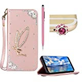 3d samsung galaxy s4 mini cases - SKYXD Leather Case for Galaxy S4 mini,For Galaxy S4 mini Bling Cover,Glitter 3D Angel [Rose Gold] Wallet Flip Folio Holster Card Slots Bookstyle Shockproof Protective Case for Samsung Galaxy S4 mini