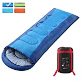 SEMOO Envelope Sleeping Bag - Lightweight Portable, Waterproof, Comfort With Compression Sack - Great For 3-4 Season Traveling,Backpacking, Camping, Hiking, Blue