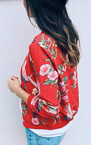 Zippe Casual Motard ShallGood Fleurs Automne des Blouson Coat Outwear Court Printemps Impression Jacket A Tops Floral Jacket pour Blouson Motifs Rouge Femmes Veste W0wggqAFf