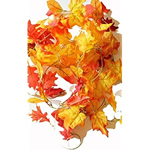 Set of 3 Autumn Garlands with Artificial Mixed Fall Color Leaves - 5 Foot X 3, 15 total!! 95