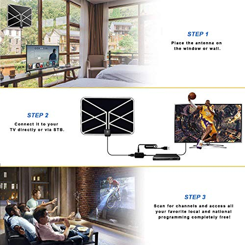 Amazon.com: HD TV Antenna, 2018 Newest Indoor Digital TV Antenna 60-80 Miles Long Range with Amplifier Signal Booster 16 Ft Coax Cable for Free 1080P 4K VHF ...