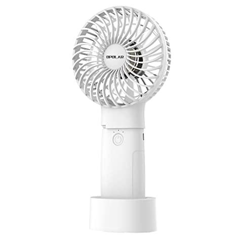 Color : White, Size : Free Size Mini Fan Handheld Mini Fan with USB Rechargeable Detachable Base for Travel Camping 3 Speeds 5.5 Hours Handheld Mini Fan USB for Home and Oudoor