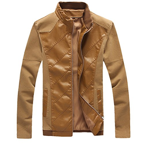 Mens Casual Zhuhaitf Long Stile Khaki Slim Windbreaker Leather Fit Outerwear Sleeve Faux Jackets rggwEOxZn